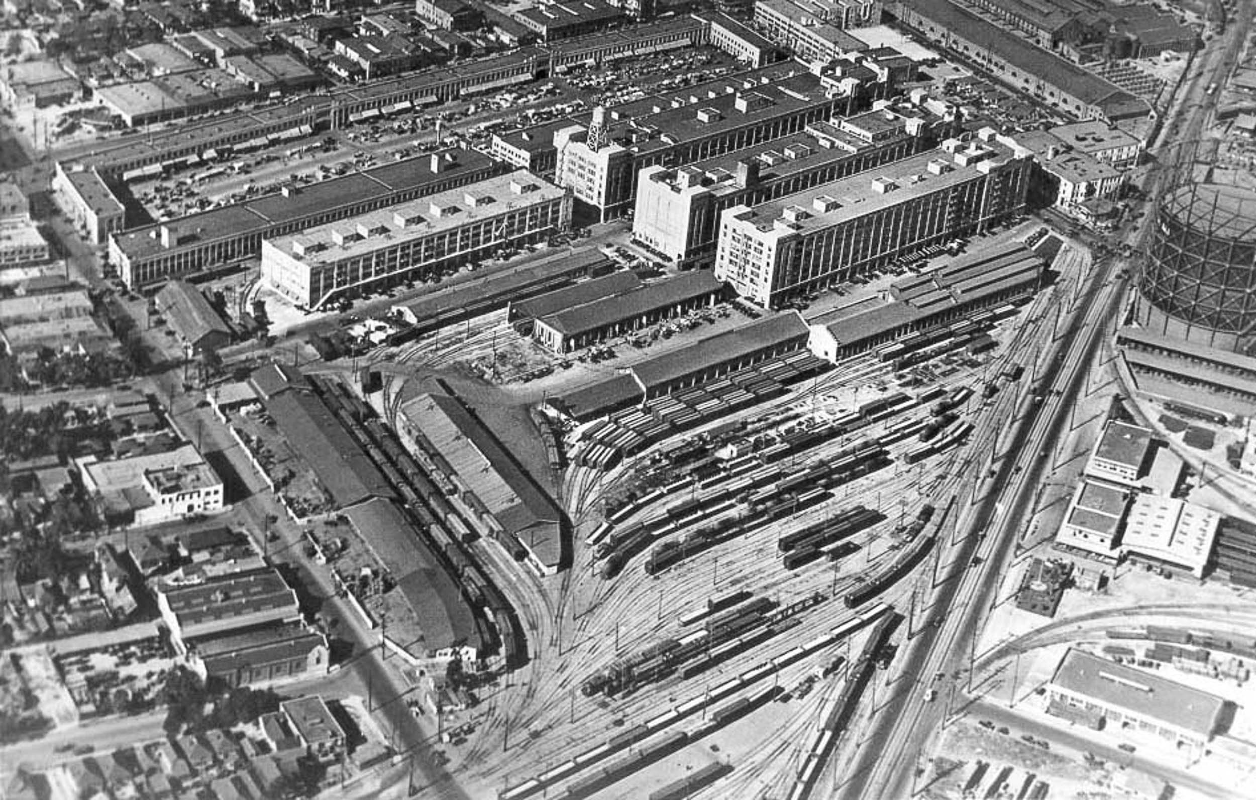 black and white aerial view of the original ROW DTLA project site