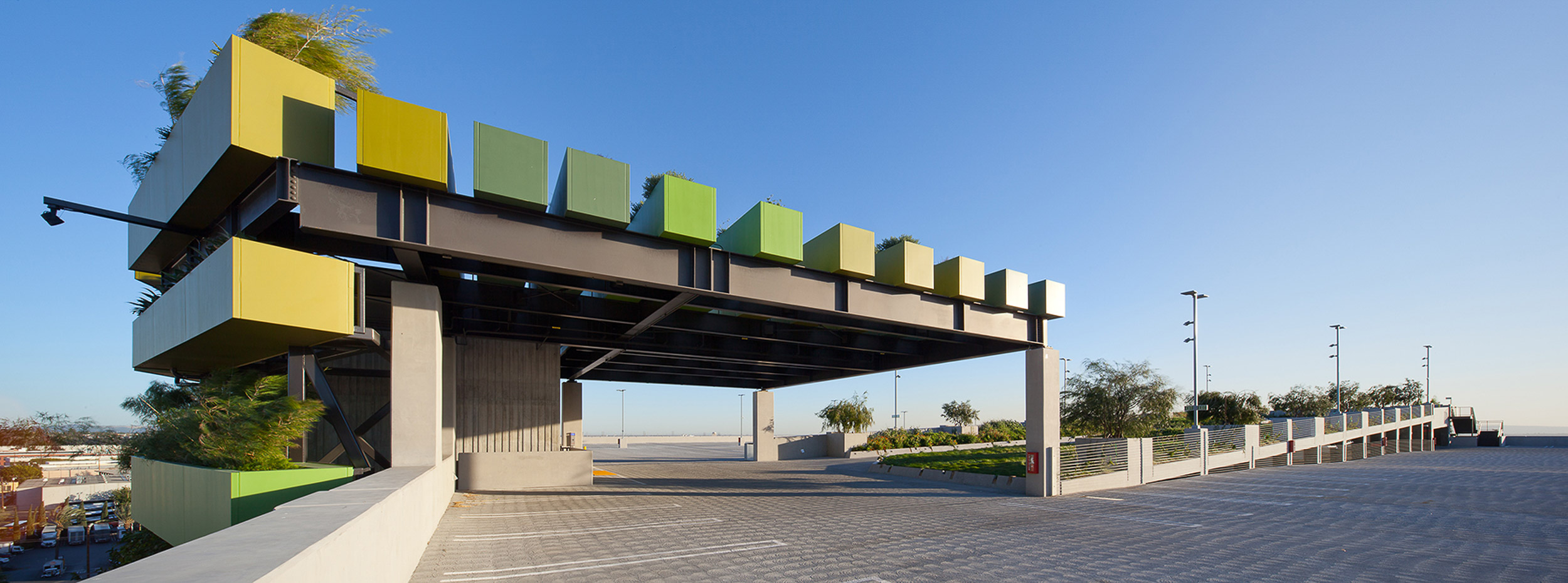 garage roof with green canopy entrance