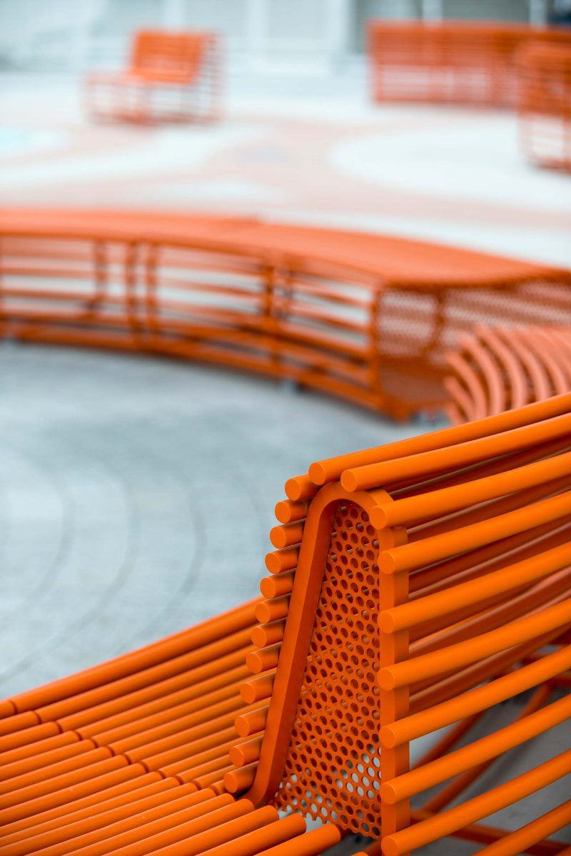 The orange RIO bench was designed by Rios Clementi Hale Studio for Tysons Corner