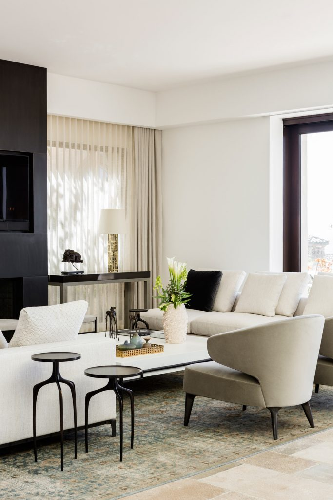 Living room seating with side tables and accessories