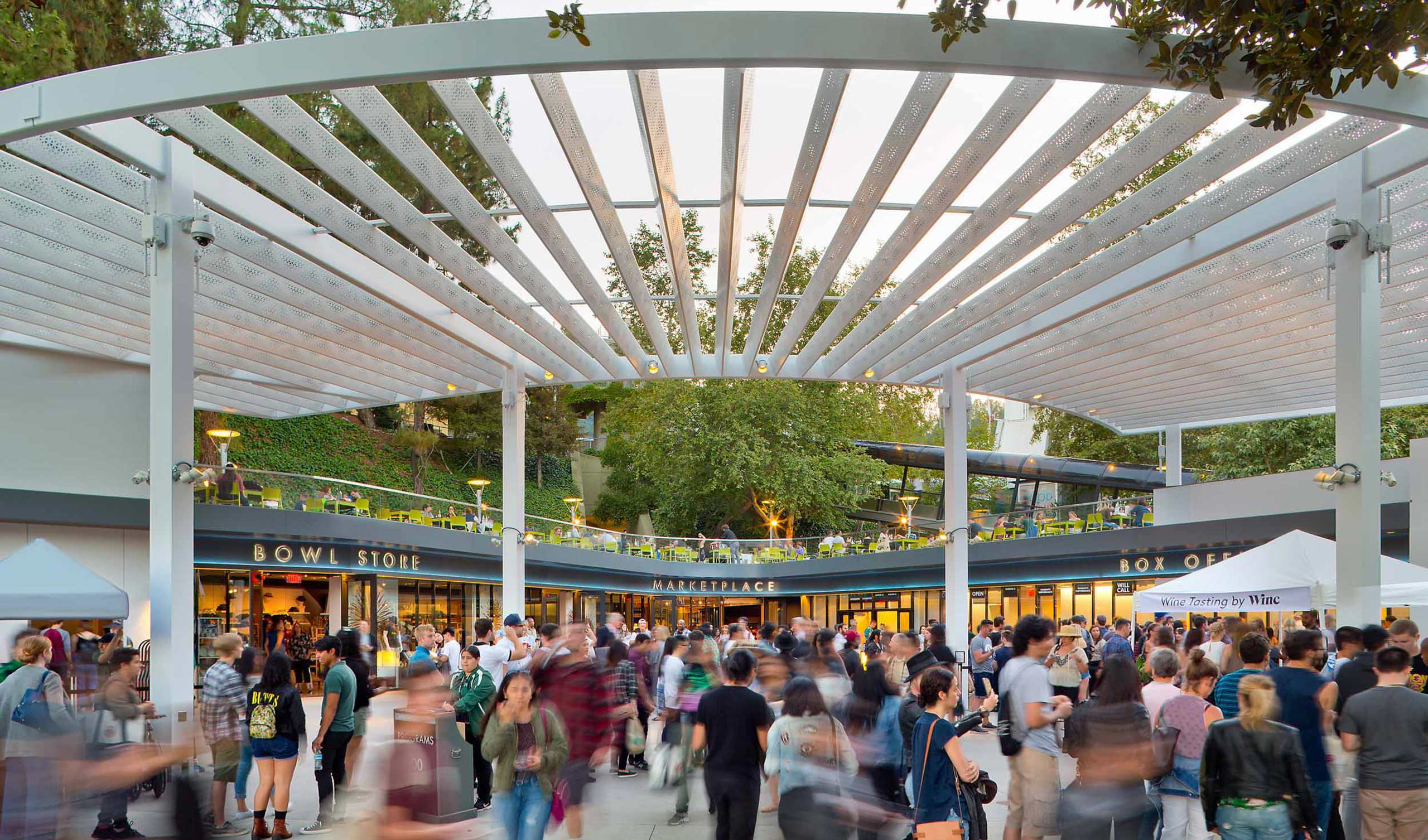 a white trellis covers Box Office Plaza at the Hollywood Bowl