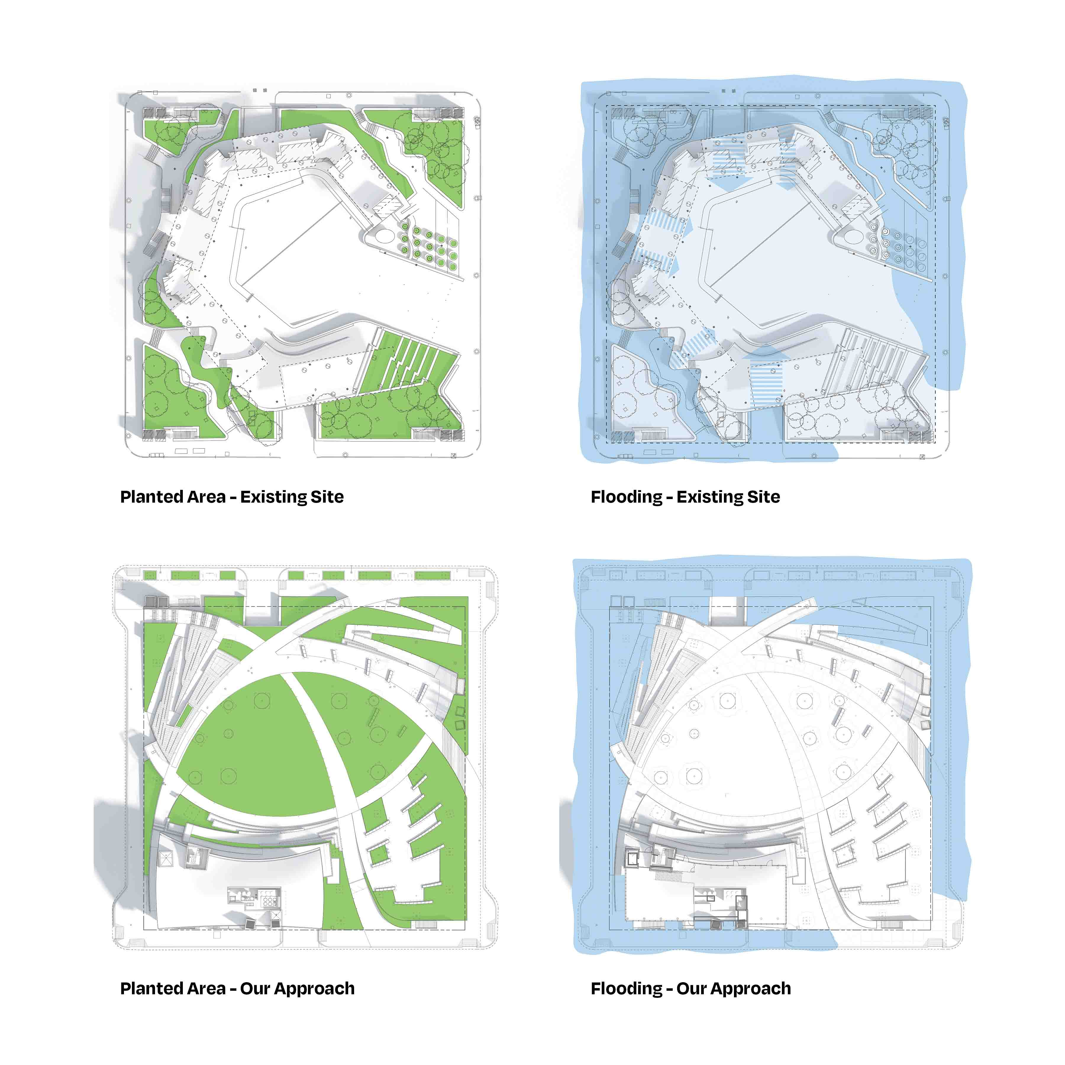 Site diagram of Houston's Wyatt square detonating the before and after areas of plantings and flooding.