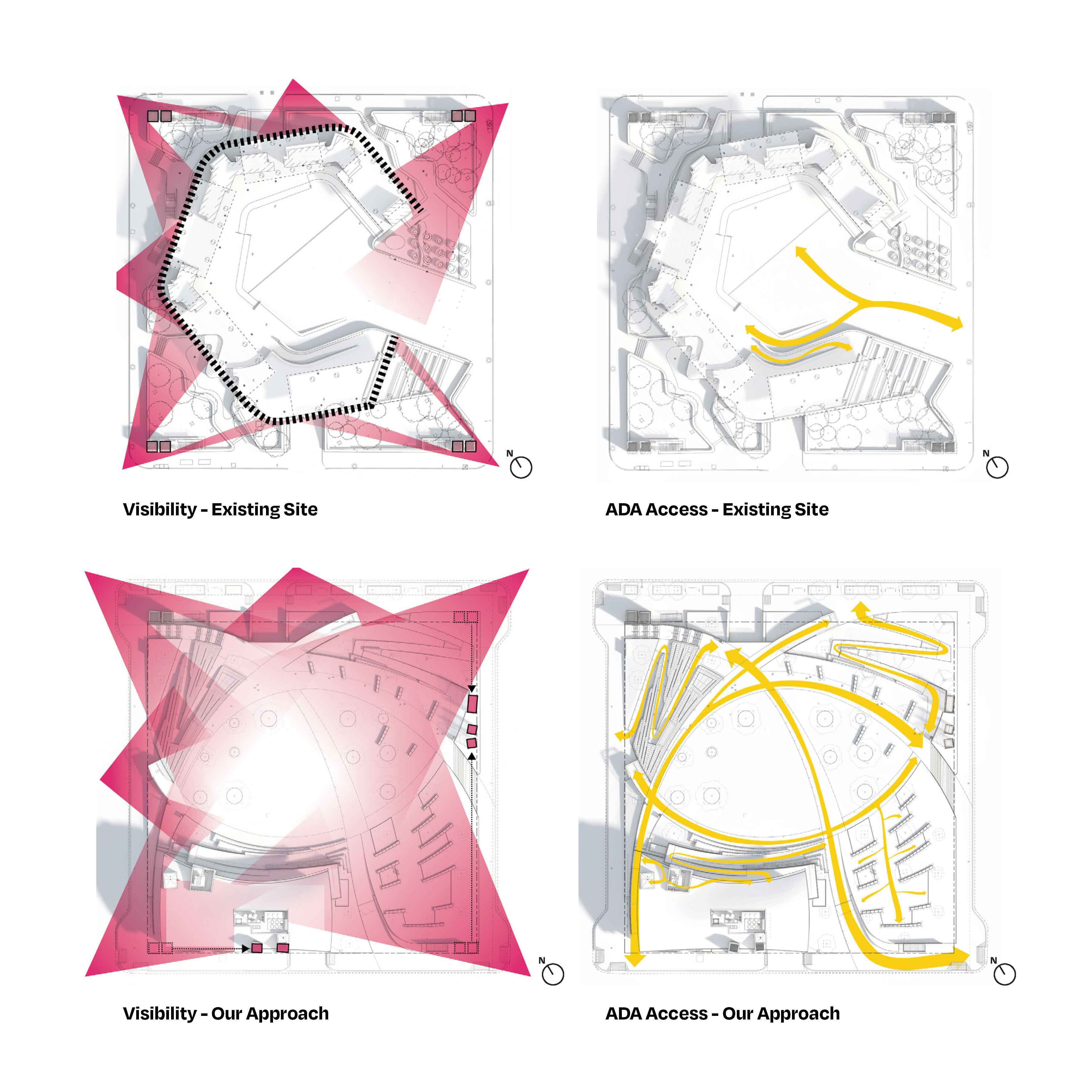 Site diagram of Houston's Wyatt square detonating the before and after areas of inclusivity and accessibility