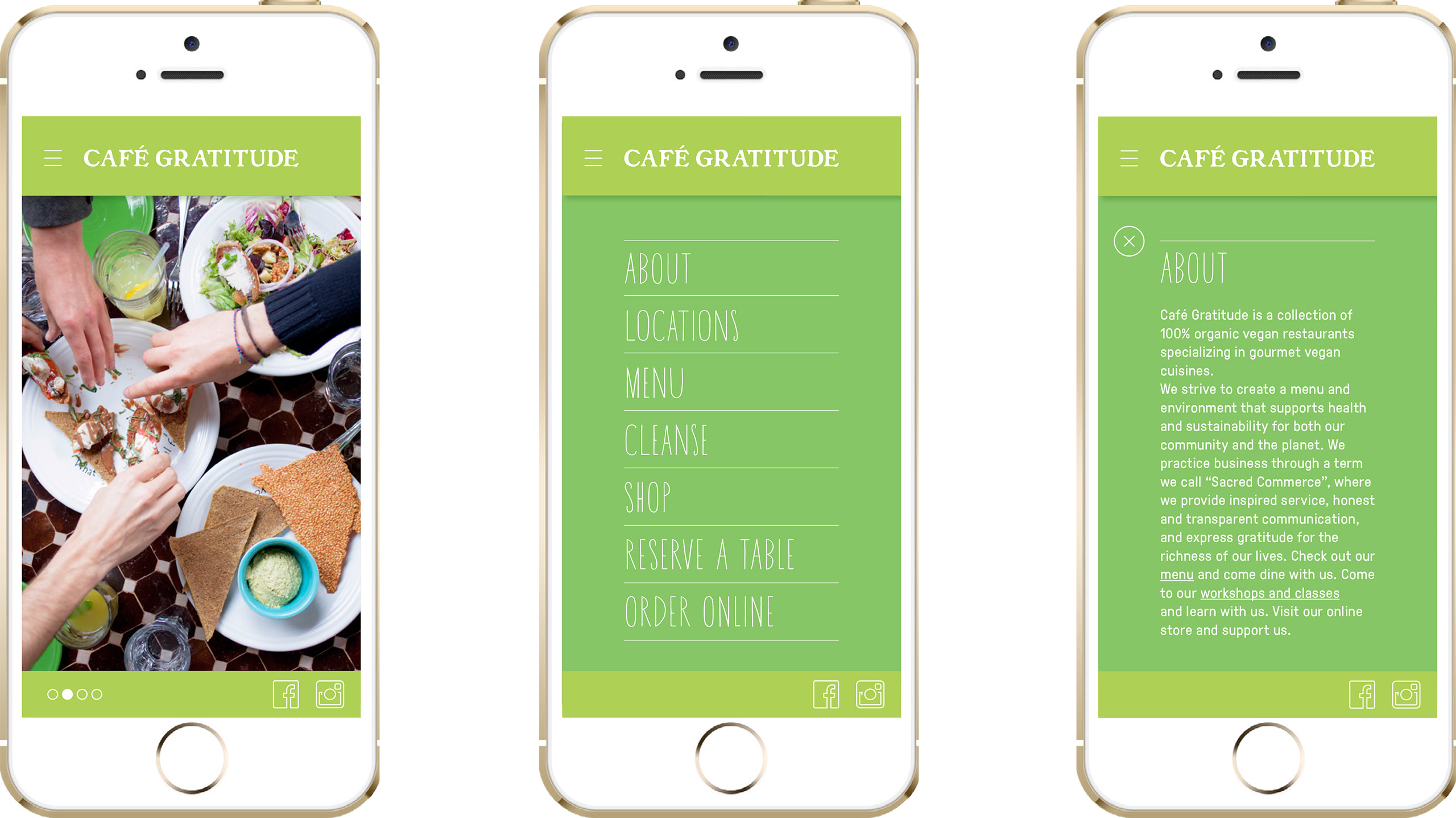Cafe Gratitude mobile design