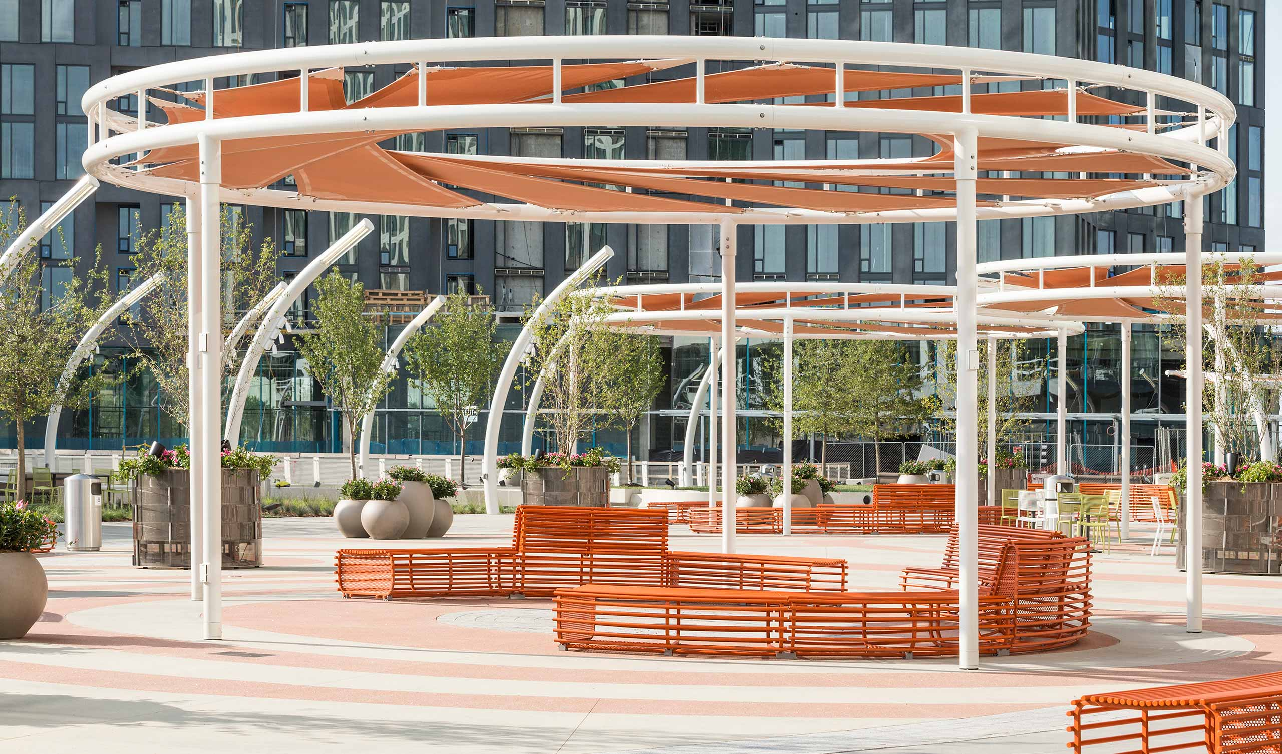 The Rio outdoor furniture was designed for Tyson's Corner Center, an urban mixed-use development