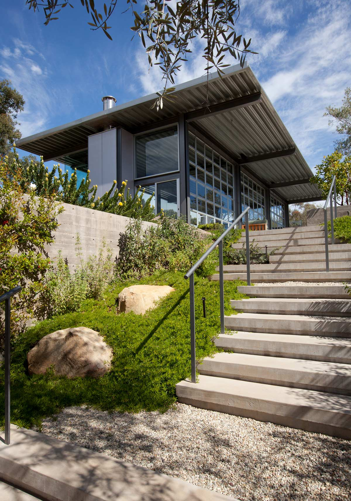 loking up stiarway with plants toward house