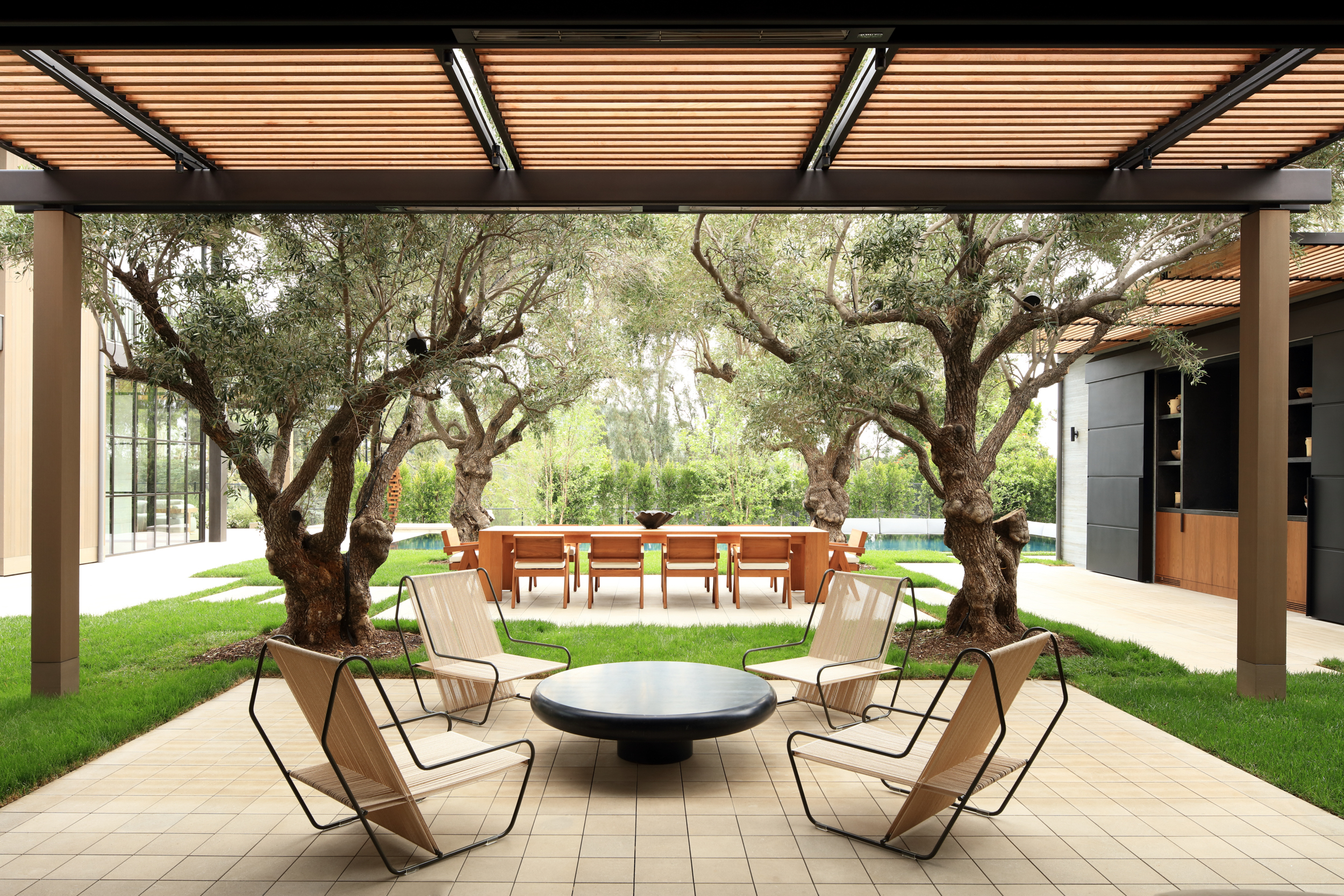 lounge area under canopy with olive trees