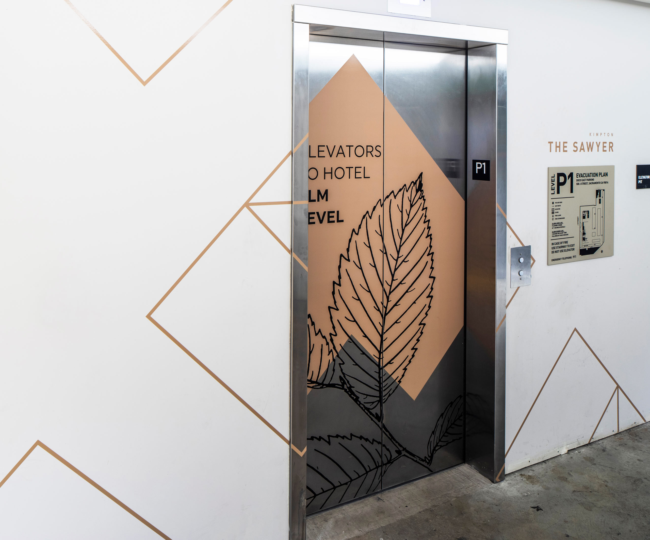 elevator doors with leaf illustration