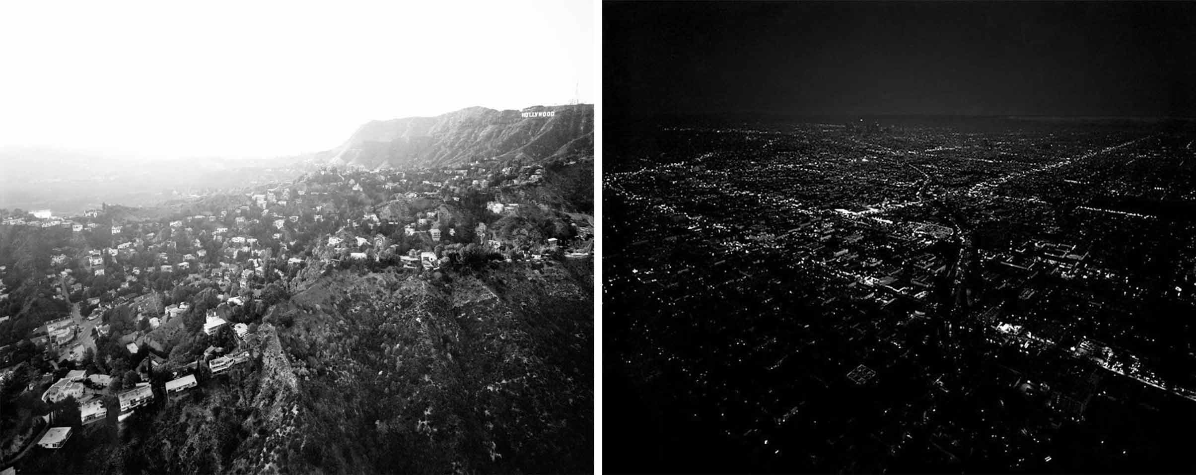 """Left: """"Hollywood Hills From Griffith Park, Beachwood Drive and Hollywood Reservoir at Left, CA. Michael Light"""". 2004. Right: """"Untitled/Downtown Dusk"""", Michael Light. 2005."""