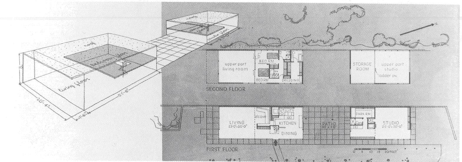 plan of Eames House, Case Study House No. 8