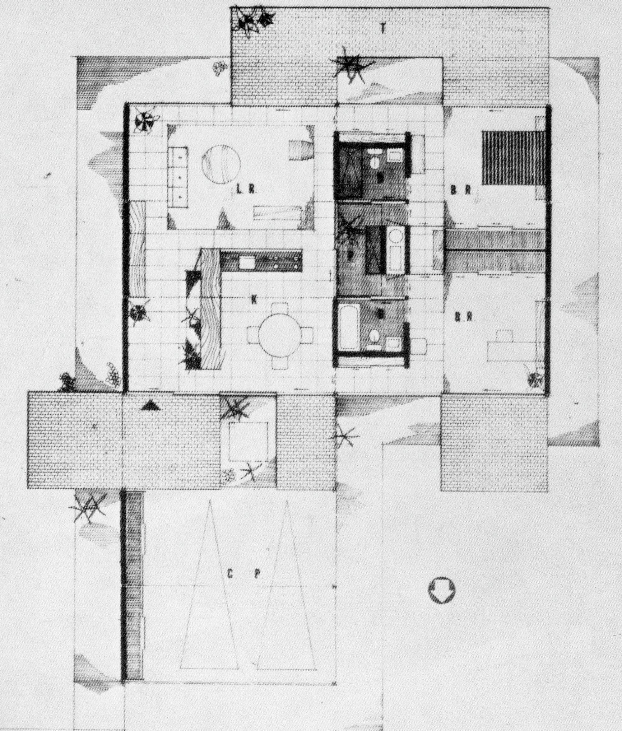 plan of Bailey House Plan, Case Study House No. 1, Pierre Koenig. 1958
