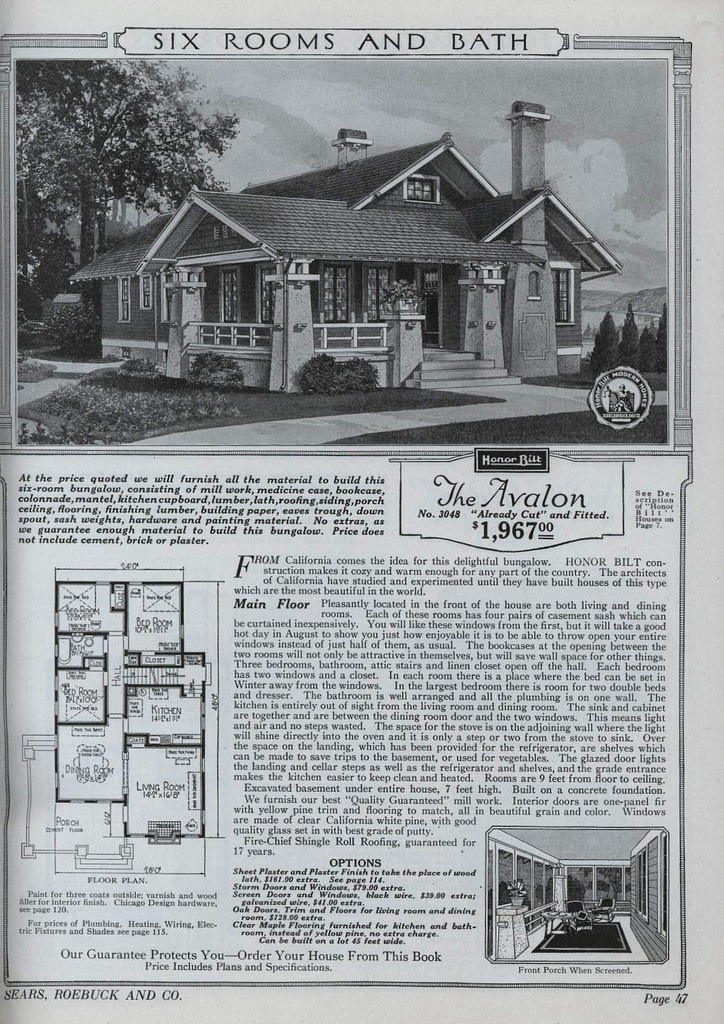 The Avalon, Sears, Roebuck, and Co. Modern Homes Catalog. 1921-6