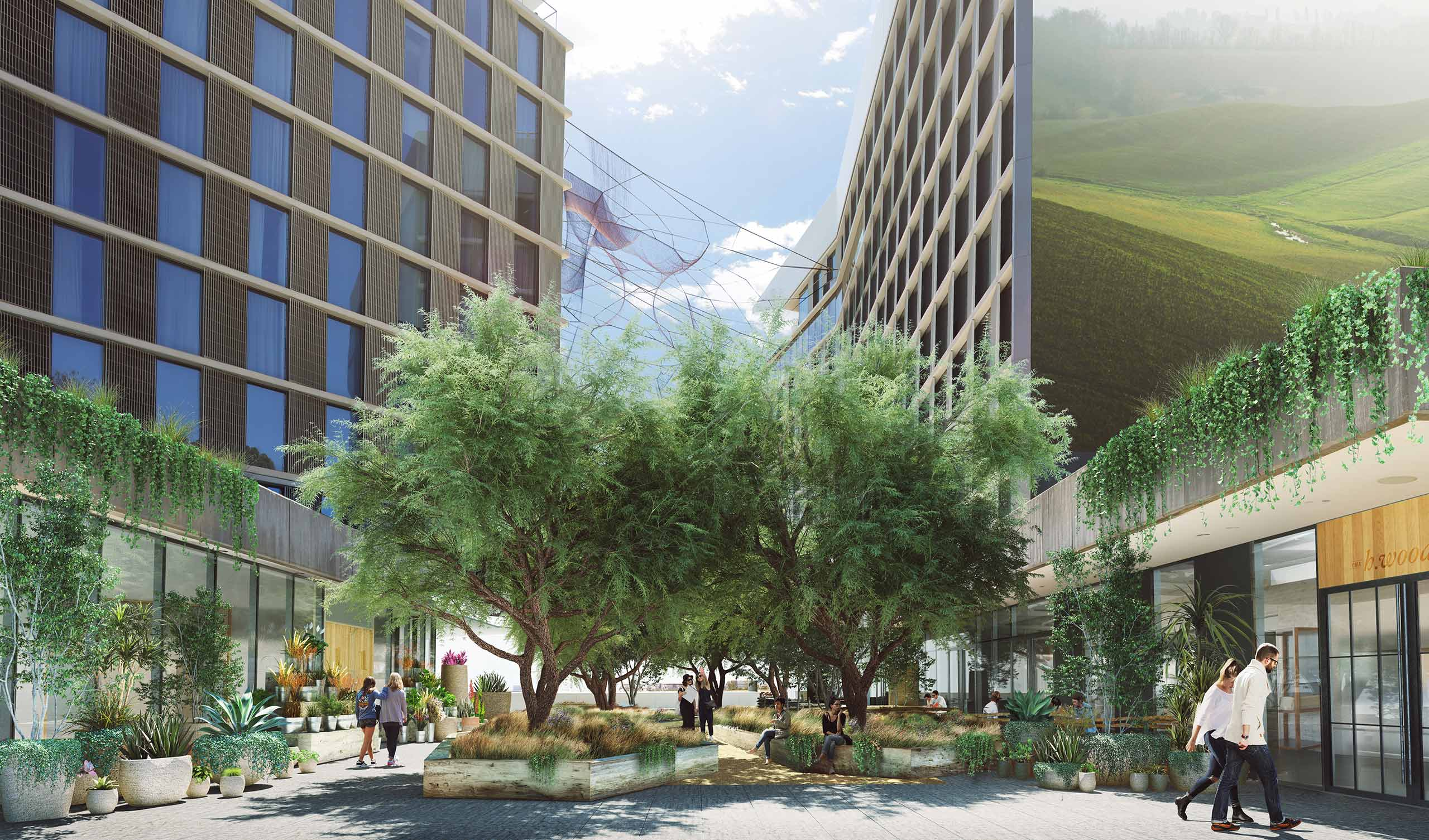 1 Hotel Design concept Courtyard filled with trees and people