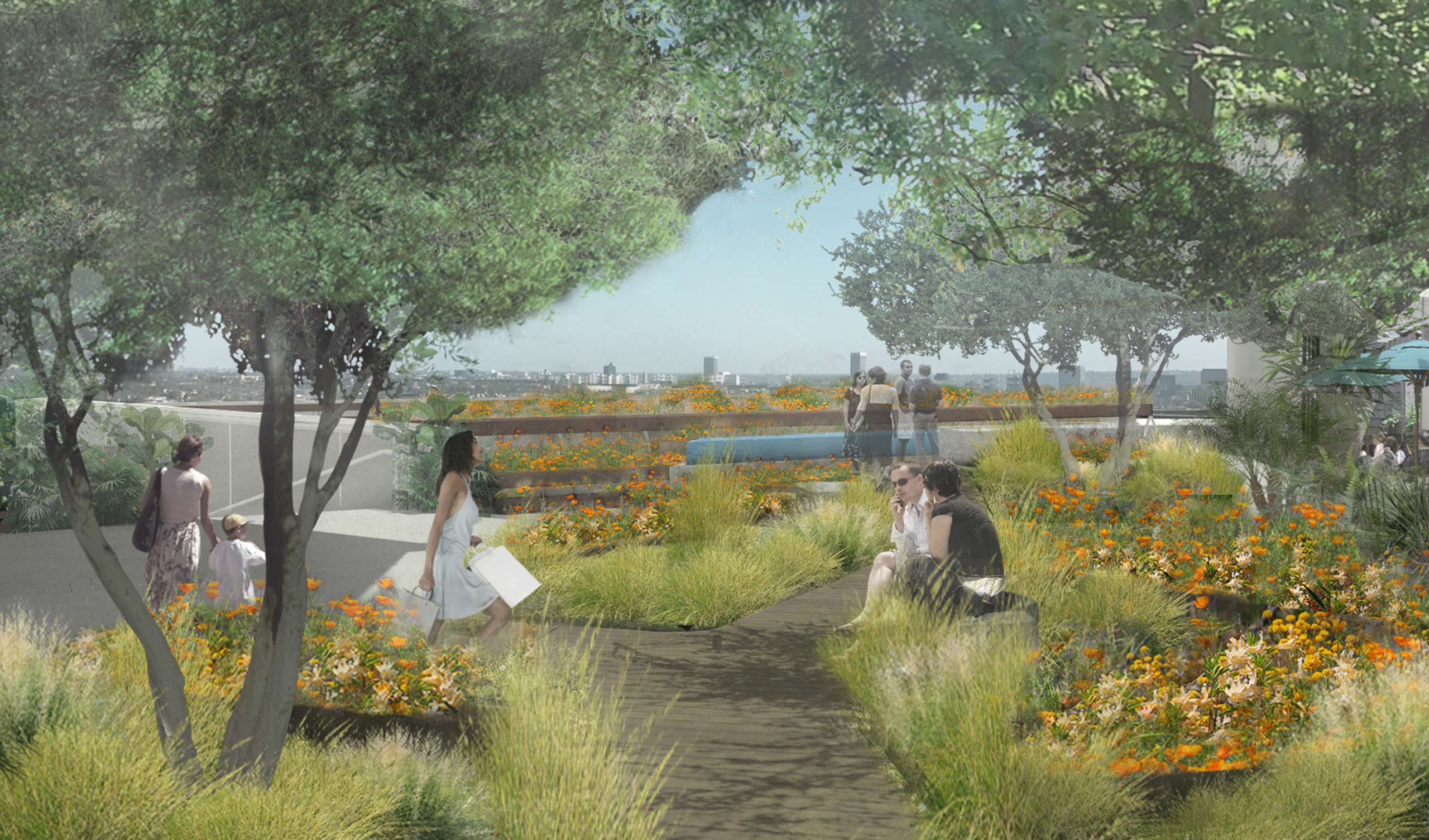 concept rendering of wooden patio with planters and benches