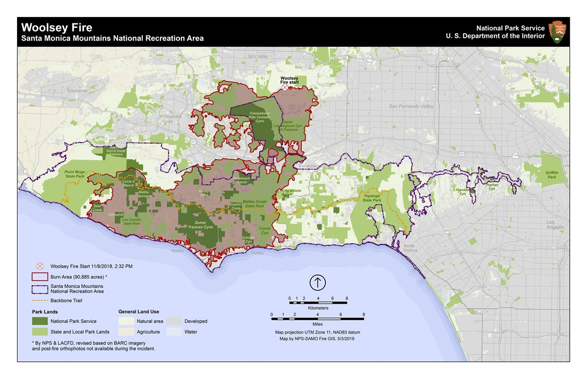 Map of Woolsey Fire burn area November 2018