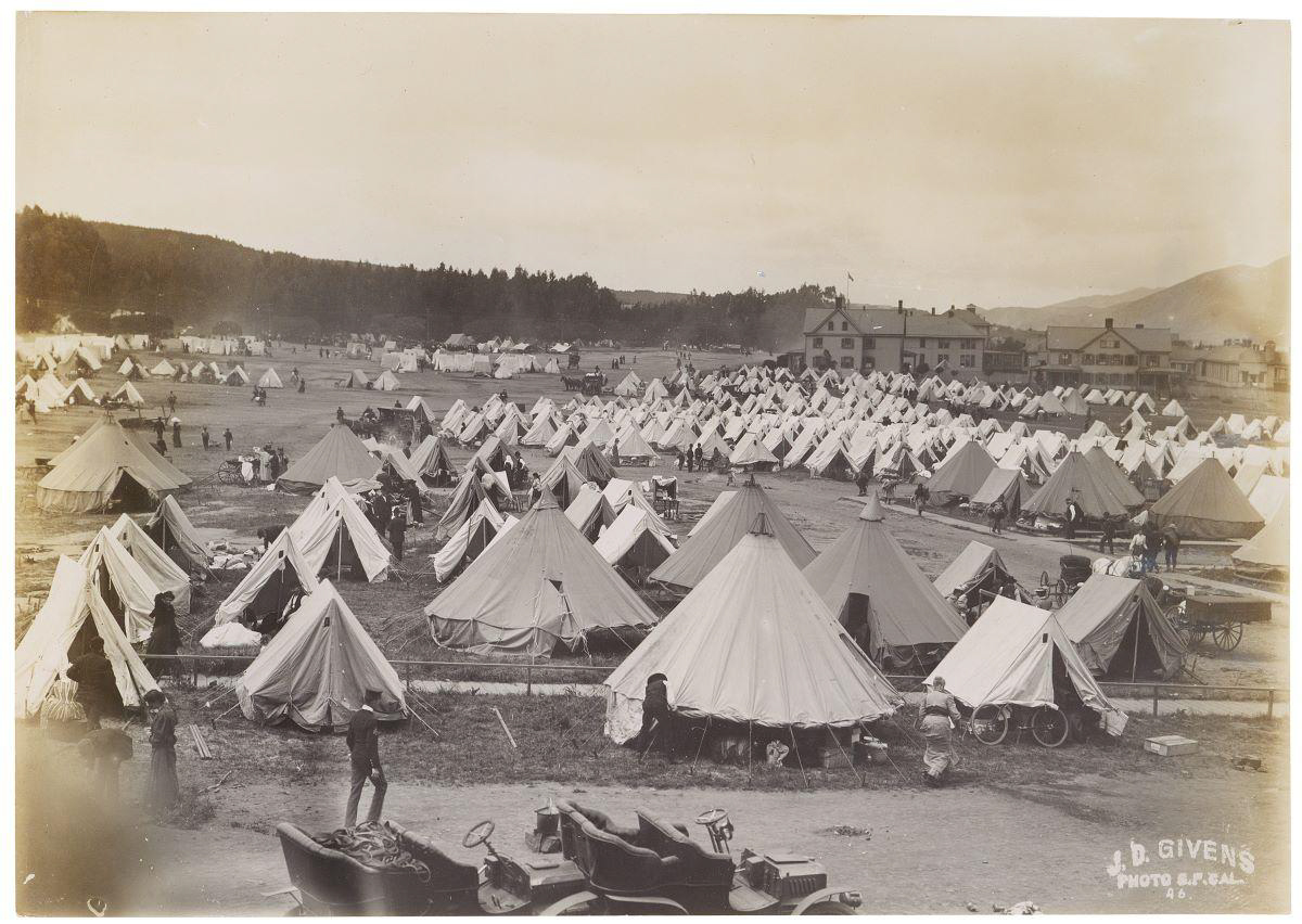 Tent camps set up following the 1906 earthquake, San Francisco