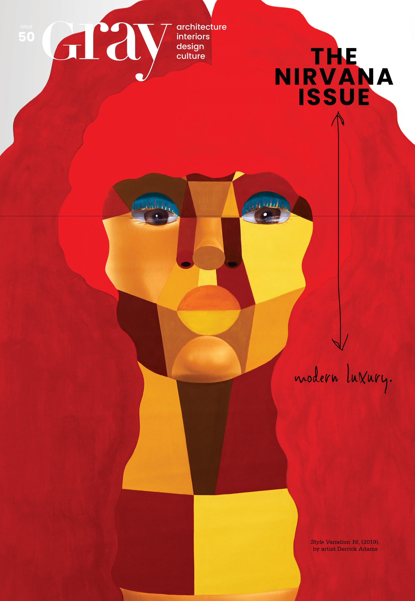 Cover of Gray Magazine with artistic drawing of a woman with red hair