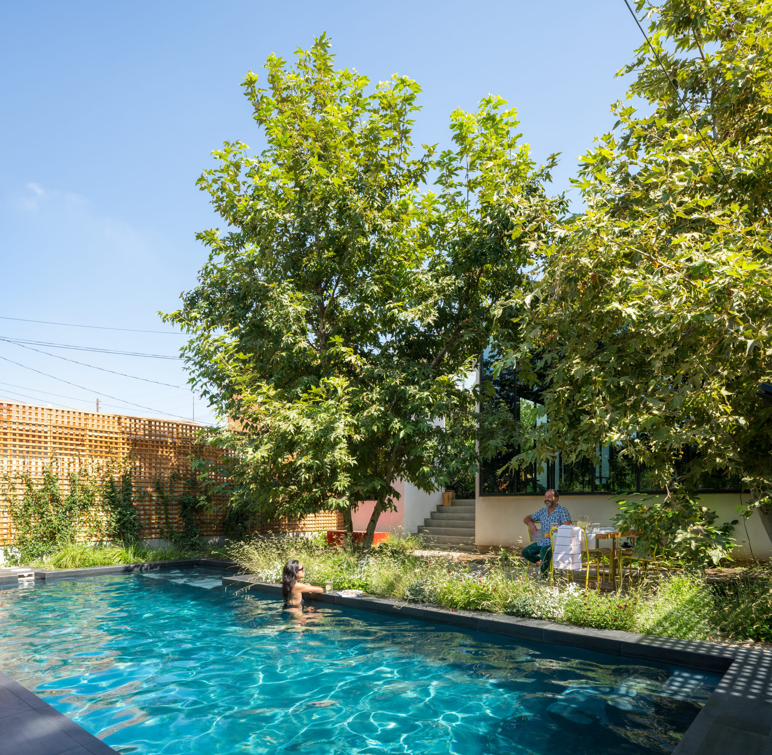 woman in swimming pool with large trees