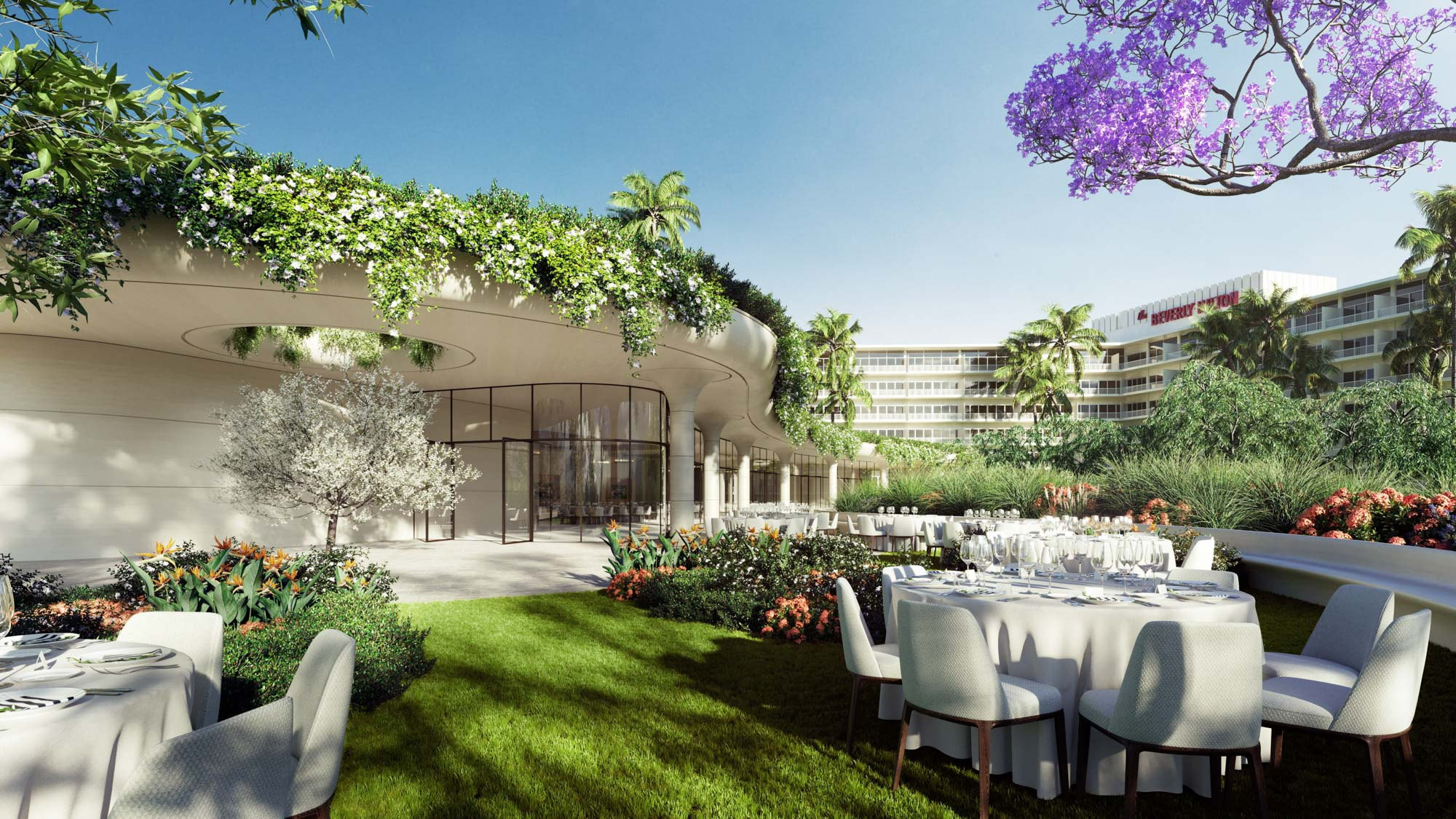 One Beverly Hills conference center outdoor reception area set for an event