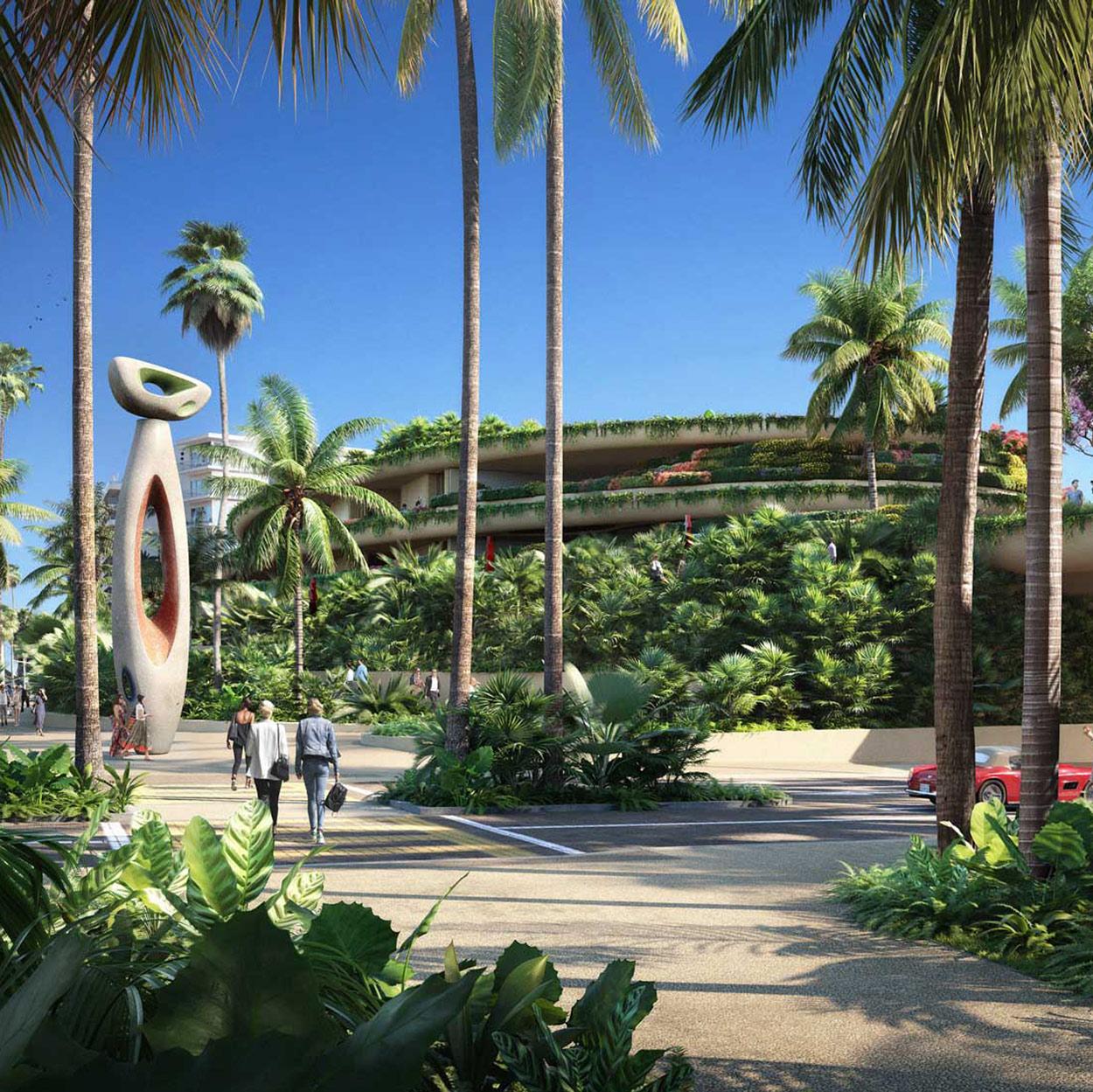 One Beverly Hills landscaped platform with modern sculpture