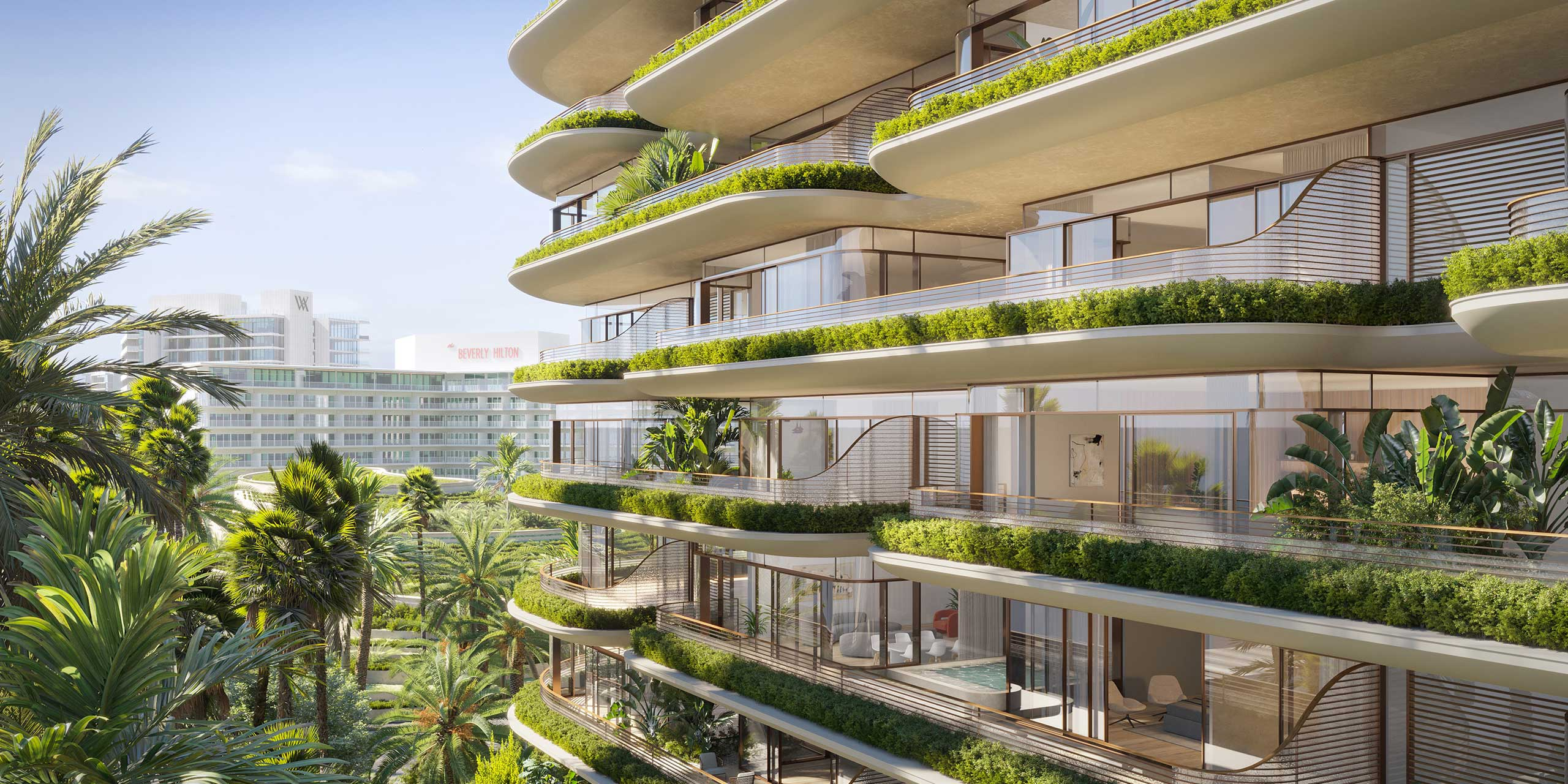high rise hotel balconies with lush landscaping