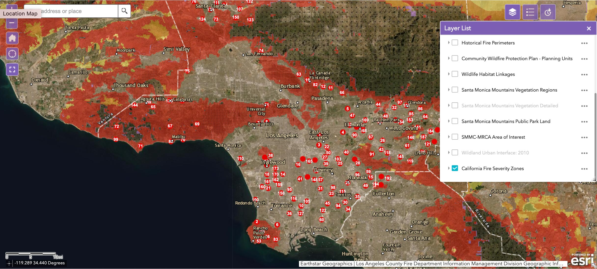 GIS map showing Los Angeles County Fire Stations and California Fire Severity Zones