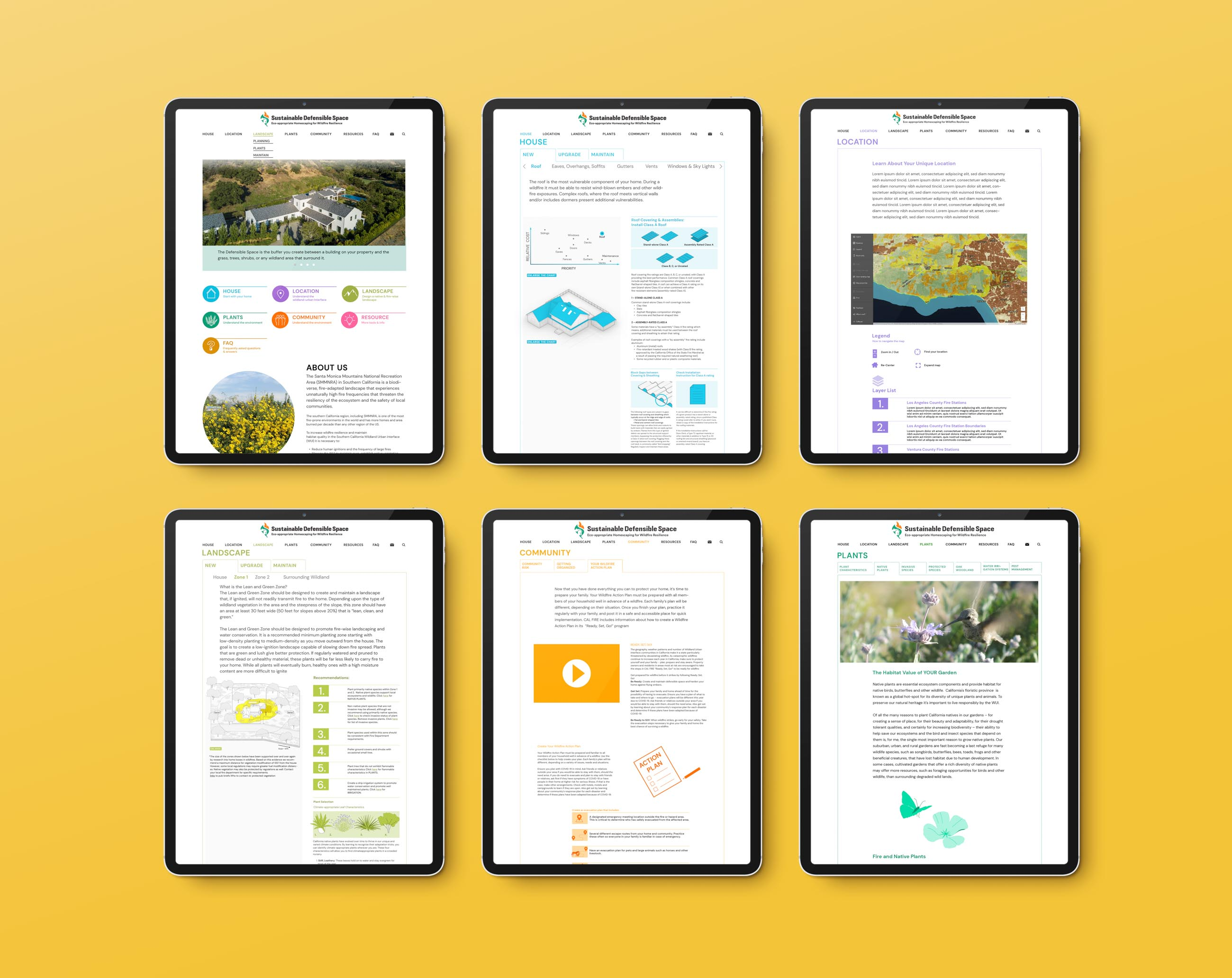 6 iPads showing different webpages from the Sustainable Defensible Space website