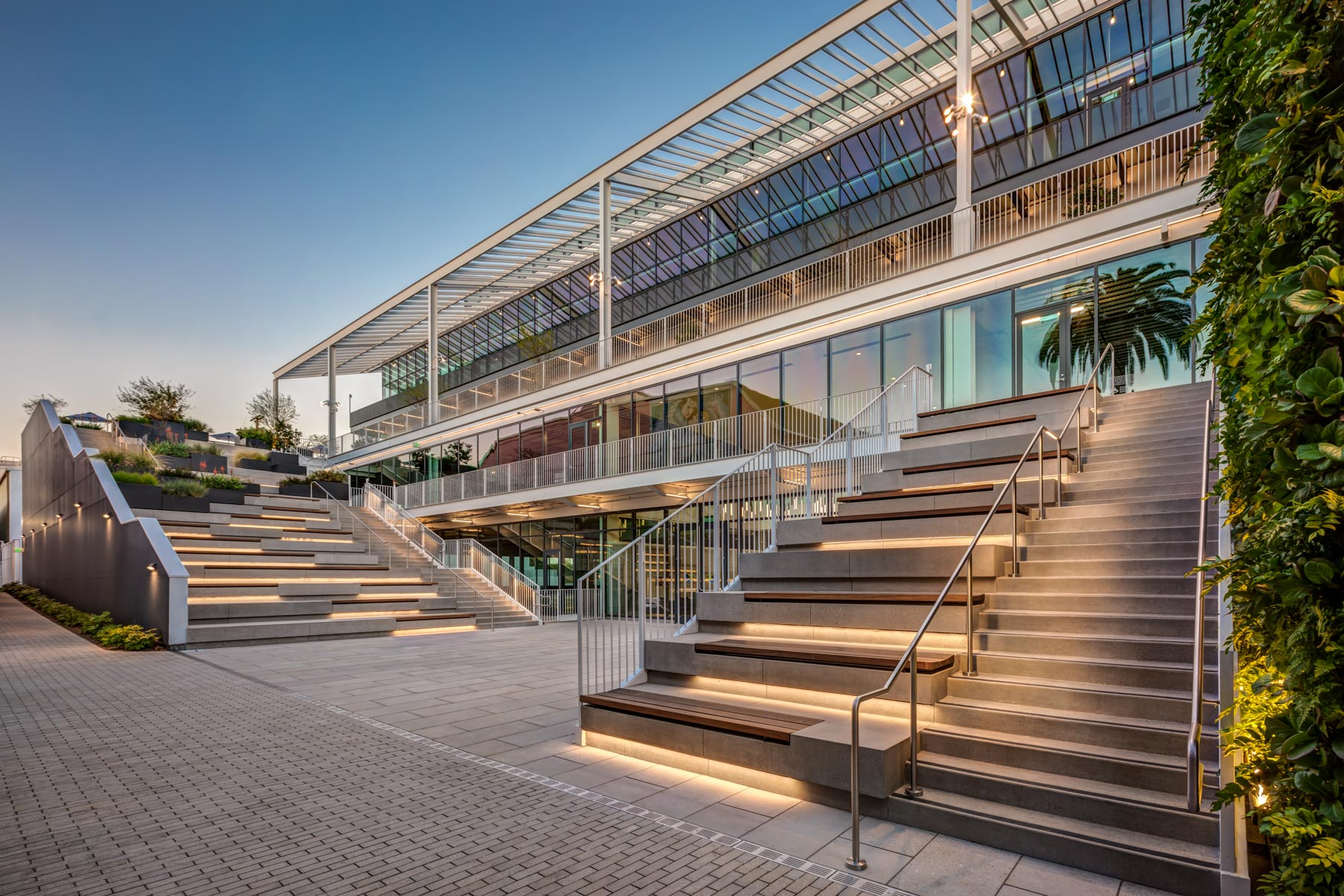 exterior stairs to Harlow at Sunset Las Palmas creative office