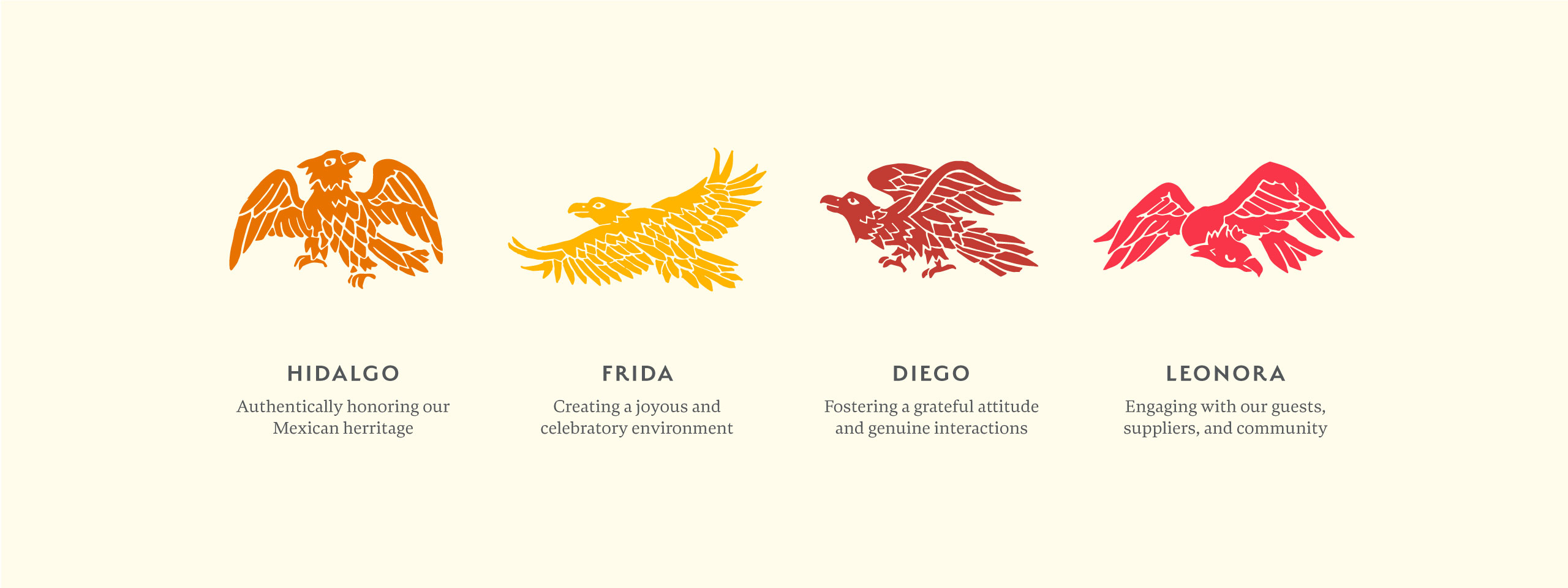 Tortilla Republic eagle illustrations orange and pink with descriptions