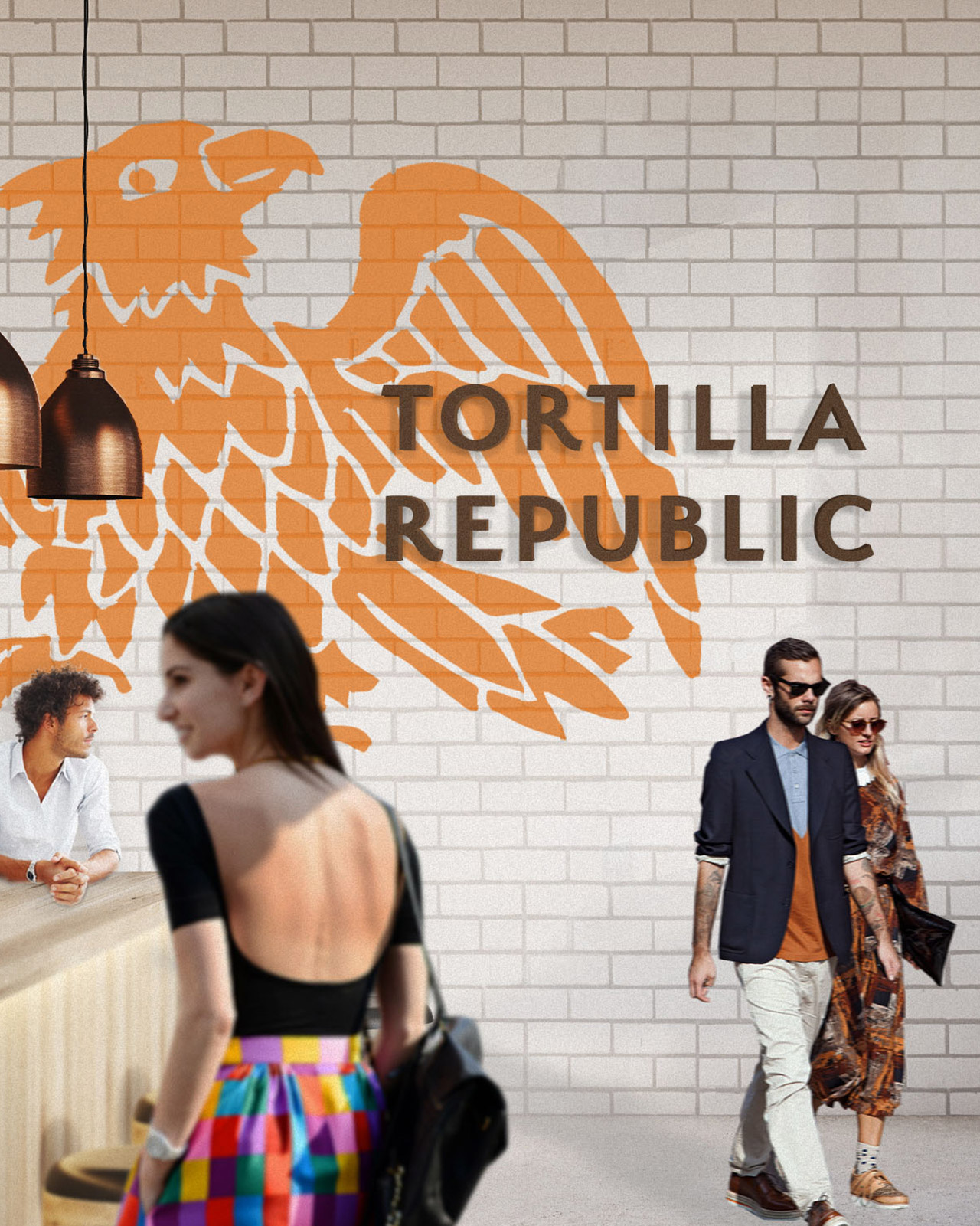 Tortilla Republic sign on white brock wall with large orange eagle behind bar