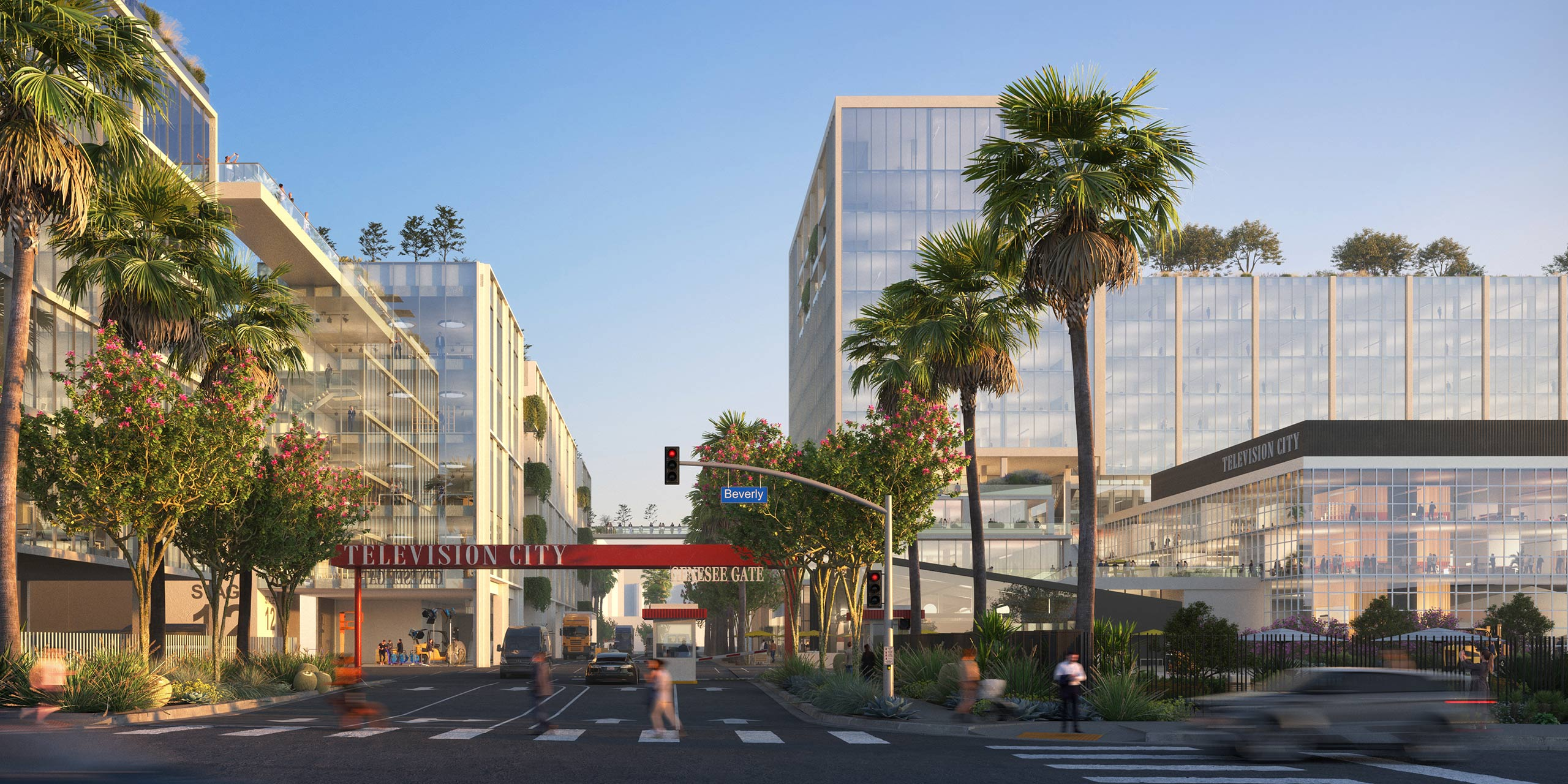 The proposed entrance and genessee gate at Television City 2050 featuring an enhanced landscape and urban activity