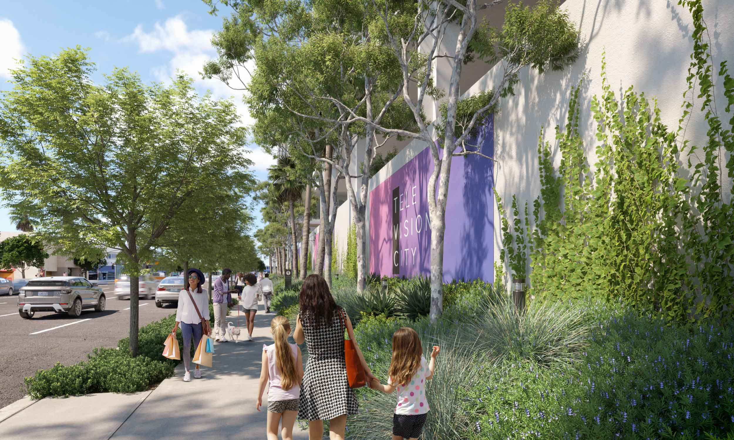 The proposed street view in the Beverly–Fairfax neighborhood with an enhanced landscape