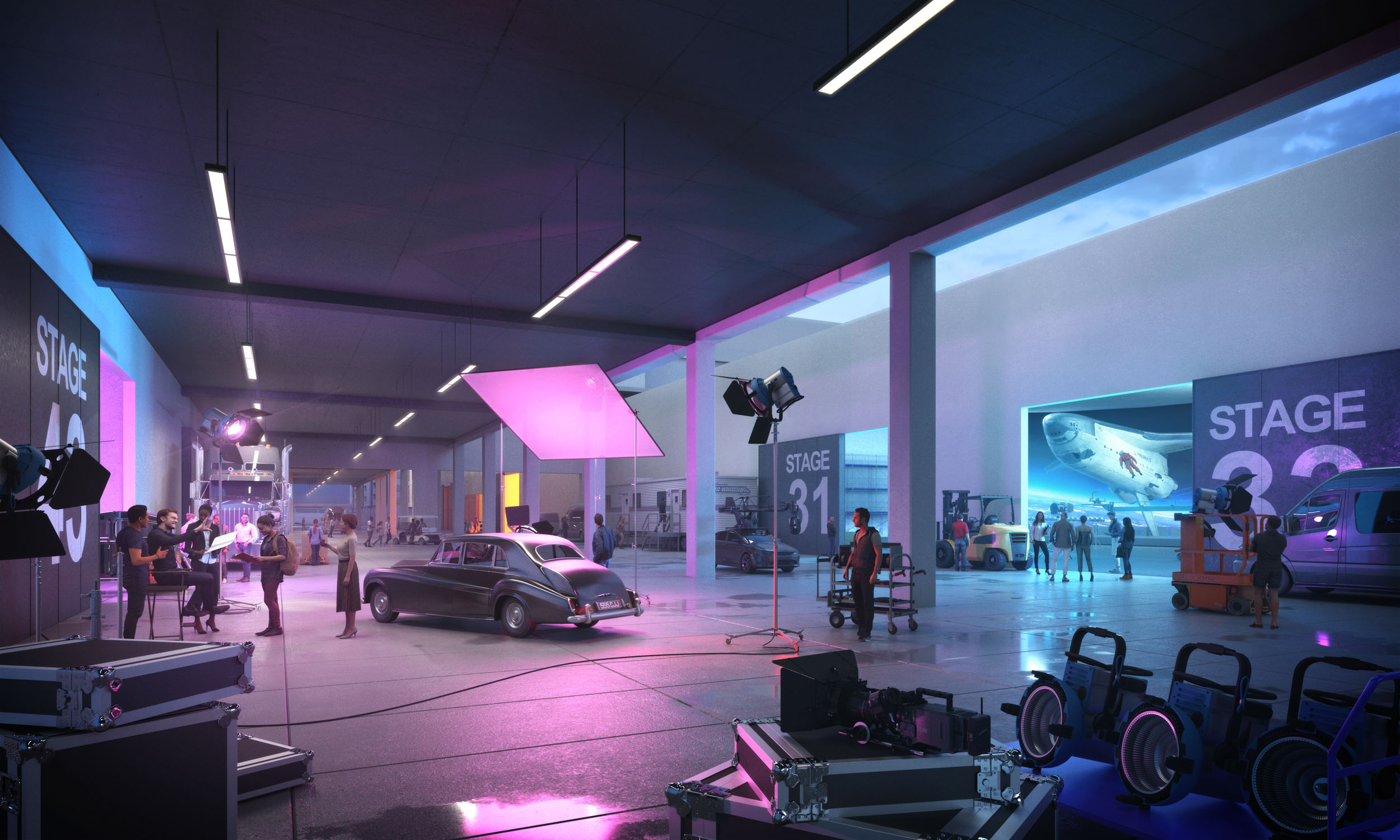 Inside a production studio at the proposed Television City 2050 with multiple soundstages, lighting, and production equipment