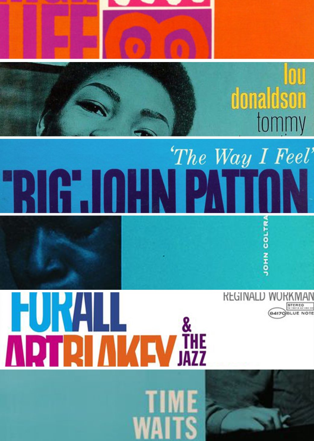 grid with details of blue note jazz covers showing color palette