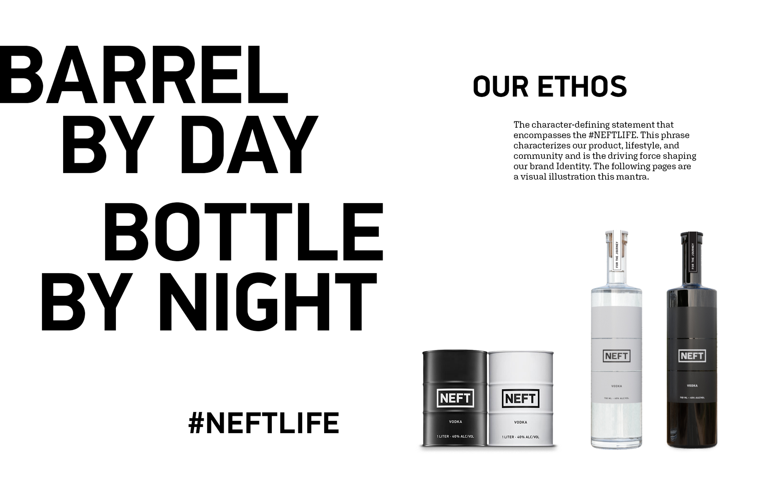 The NEFT brand and ethos showing black and white Vodka bottles and a summary of the ethos