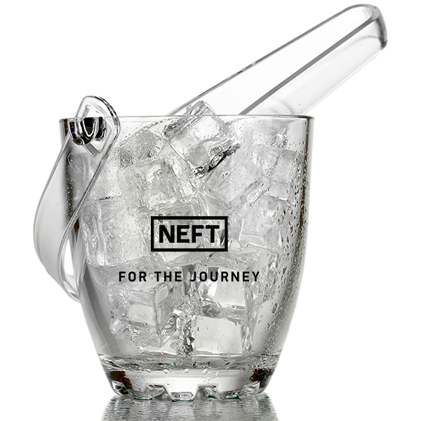 "Clear ice bucket with the LEFT logo that also says ""for the journey"""