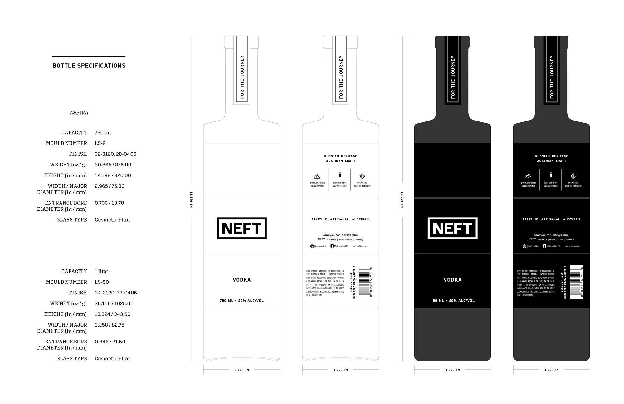 Bottle specifications of the NEFT Vodka bottle design