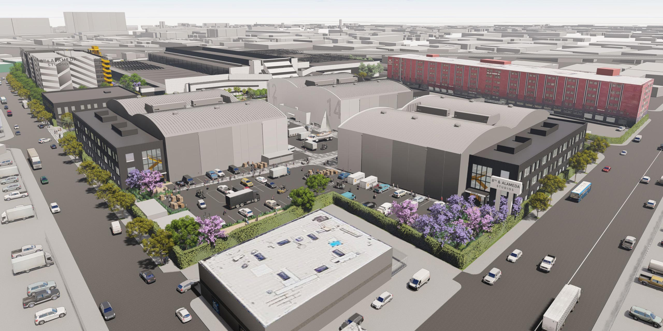 Aerial view of 8th and Alameda Studios Soundstages