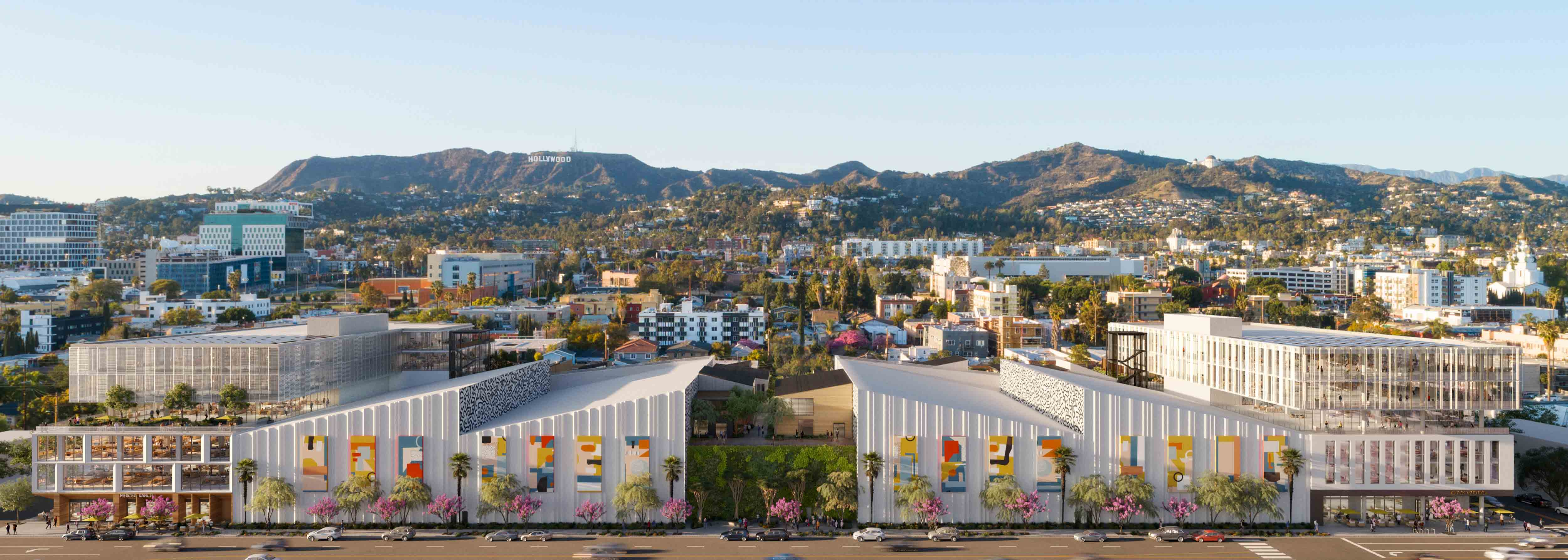Wide view of Echelon Studios with the Hollywood sign and hills in the backdrop