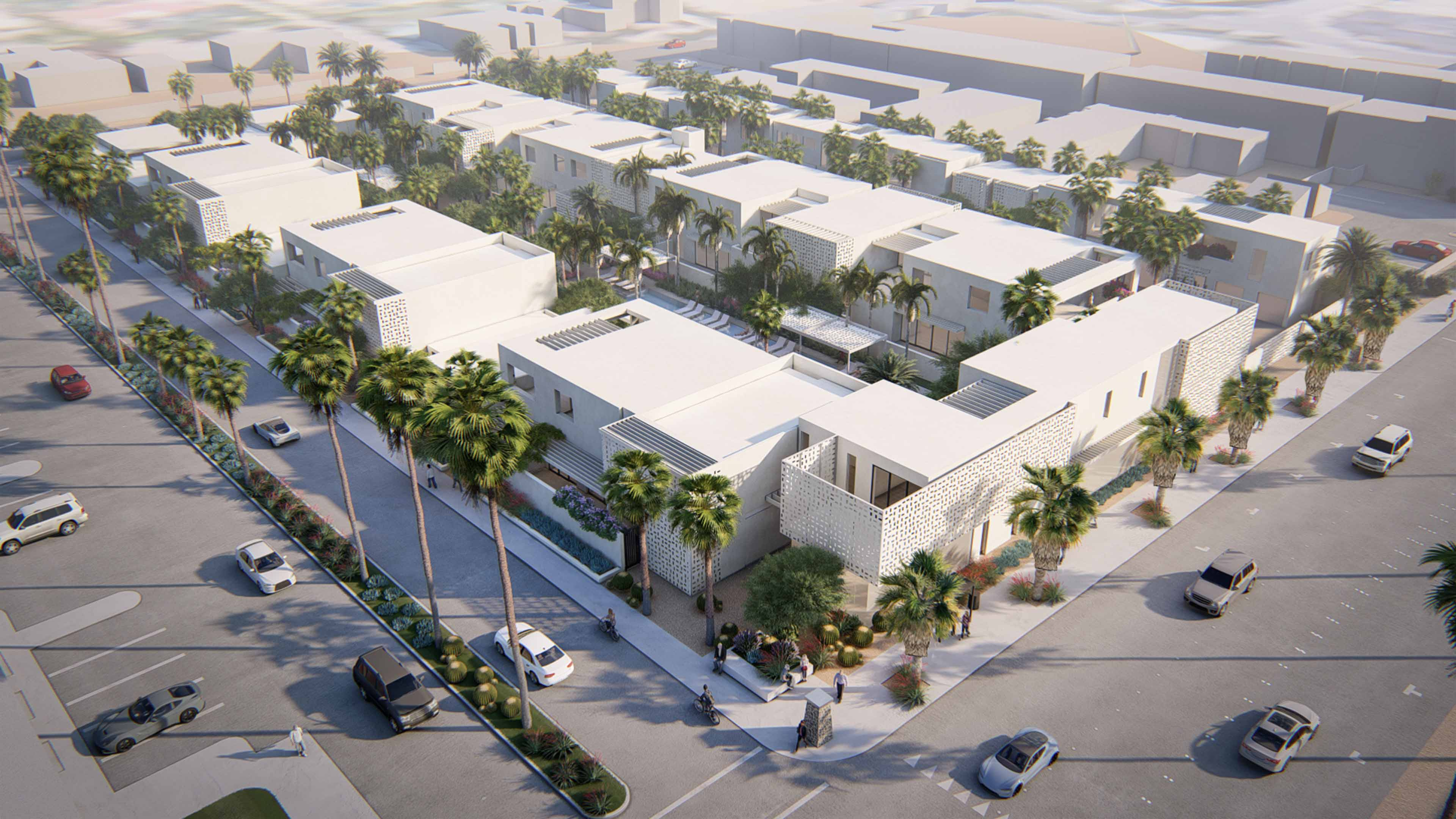 Aerial shot of the Palm Canyon buildings with palm trees