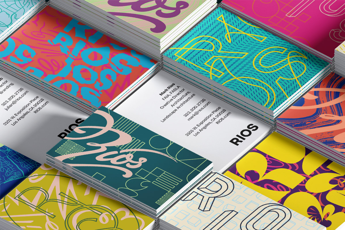 Joyful and bright RIOS-branded business cards