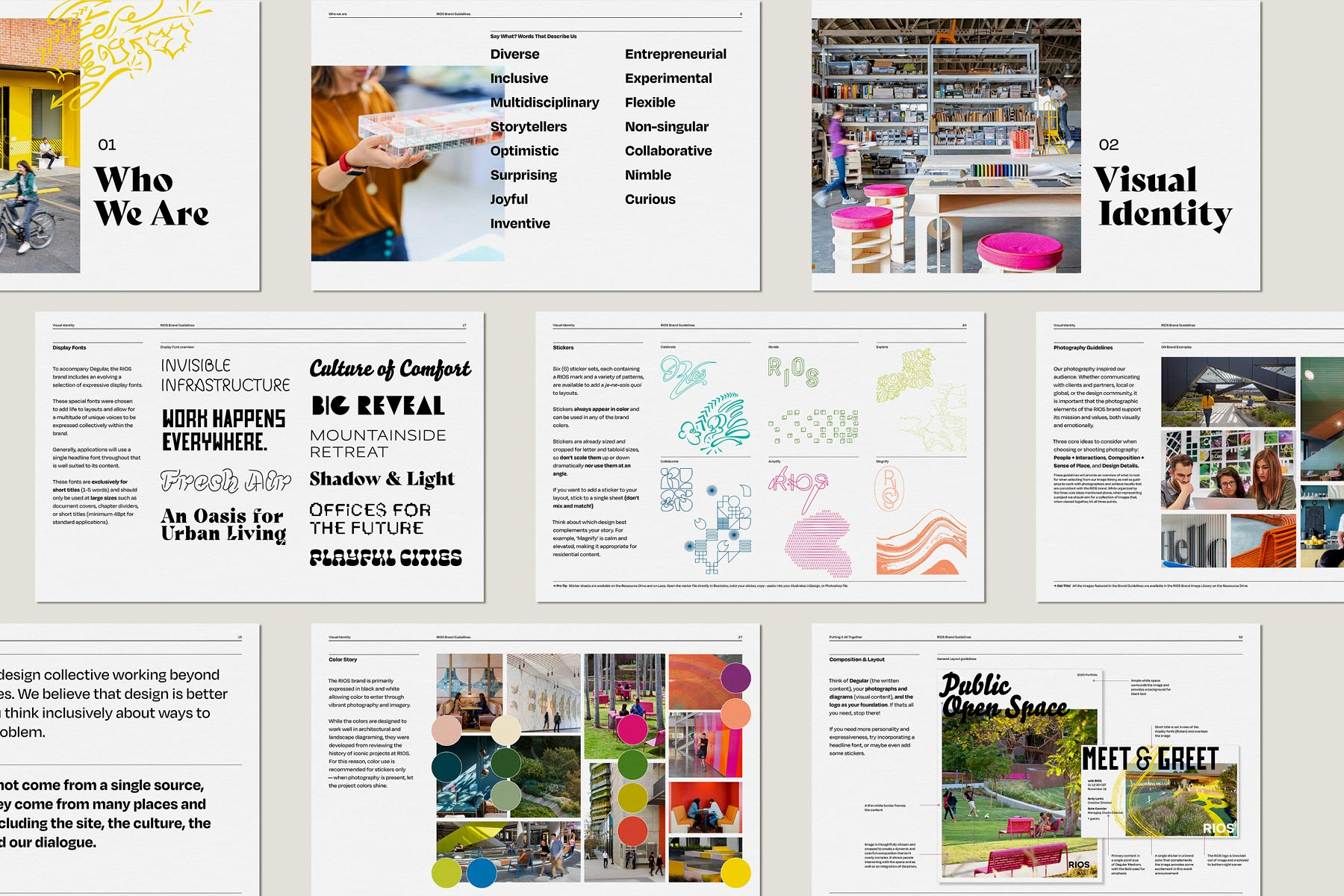 The brand guidelines to the RIOS visual and brand identity
