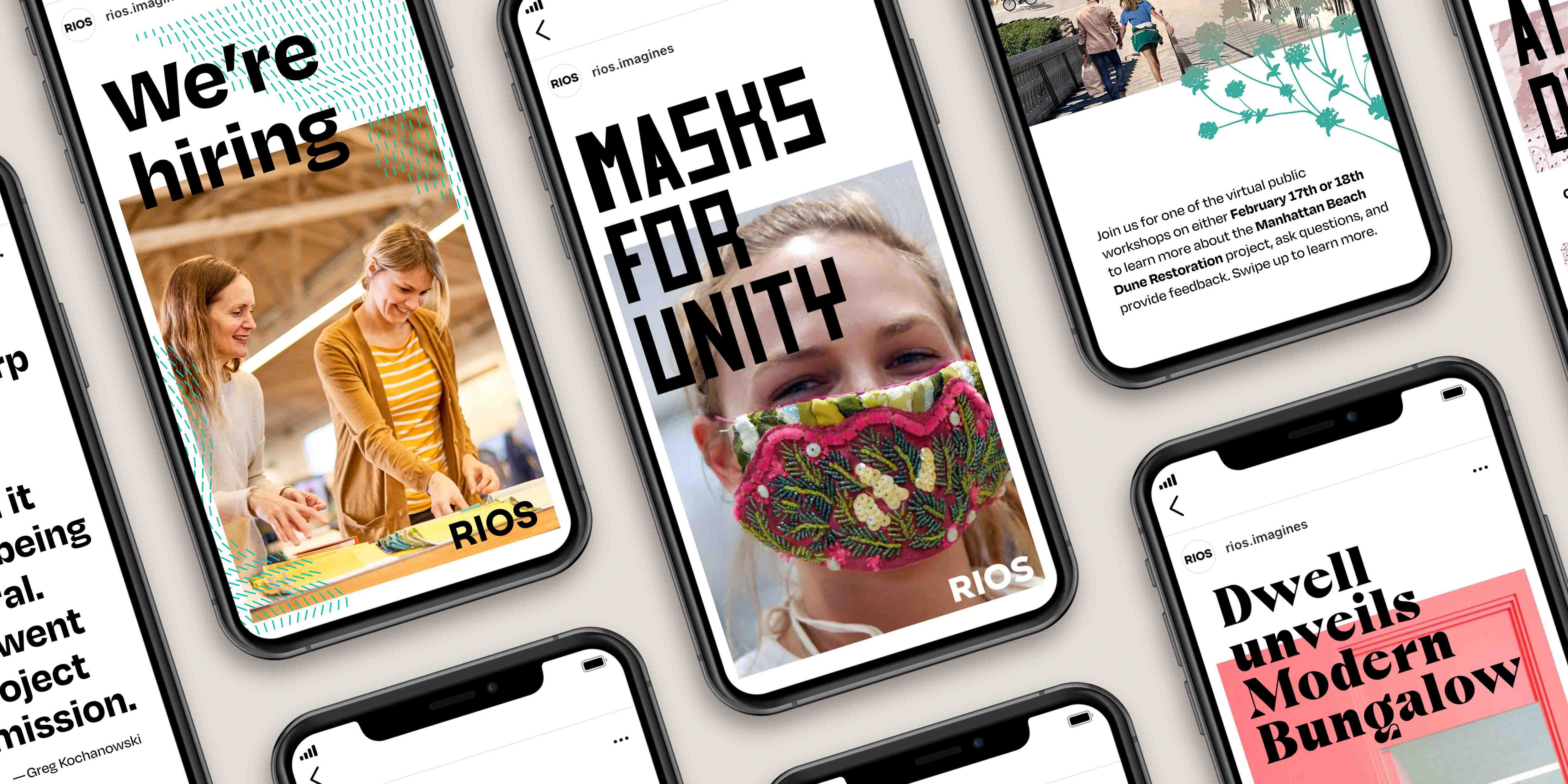 A mockup of Instagram Stories with the RIOS brand identity