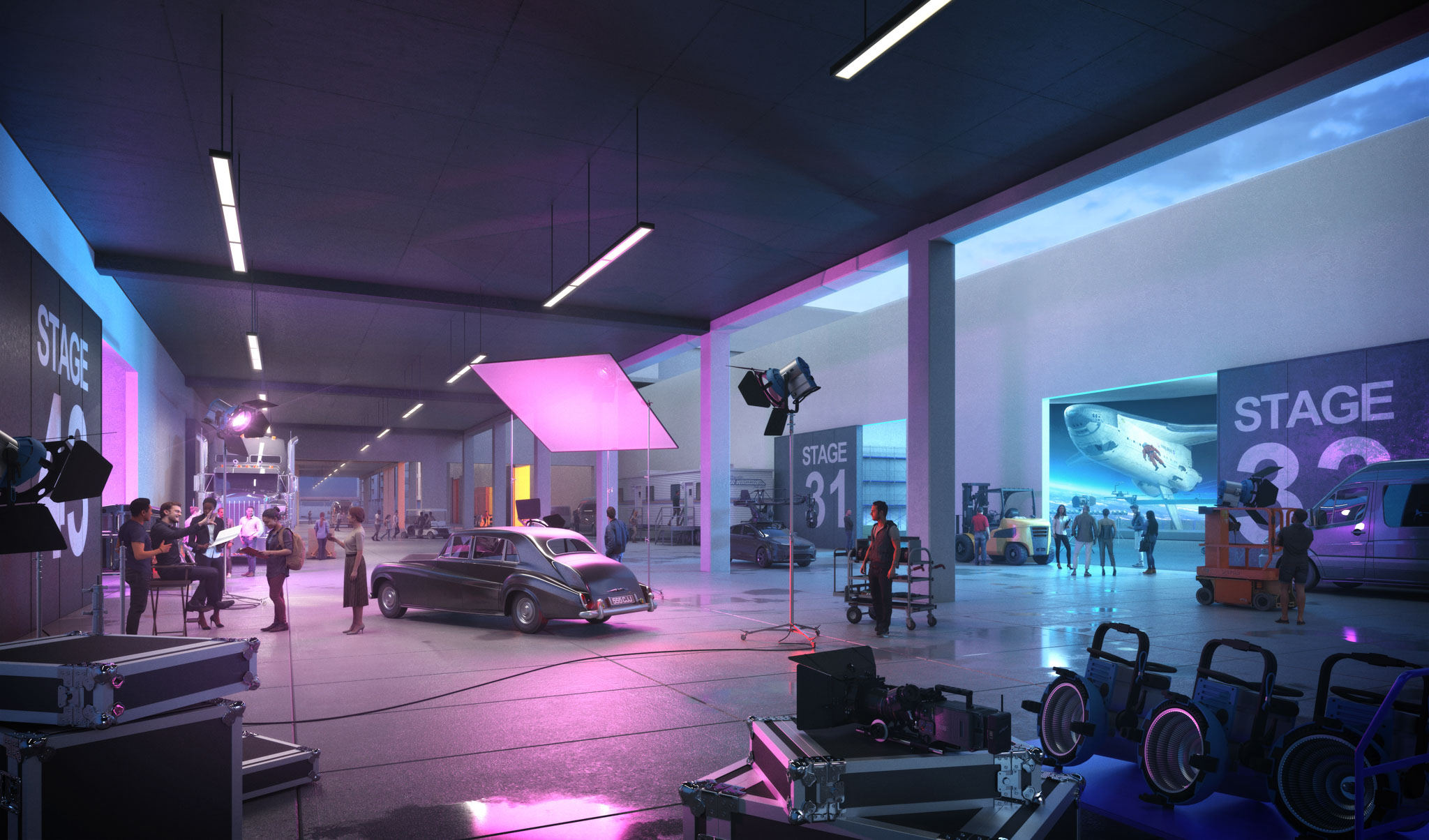 interior view of a television city production set with a car in the center and blue and pink lighting